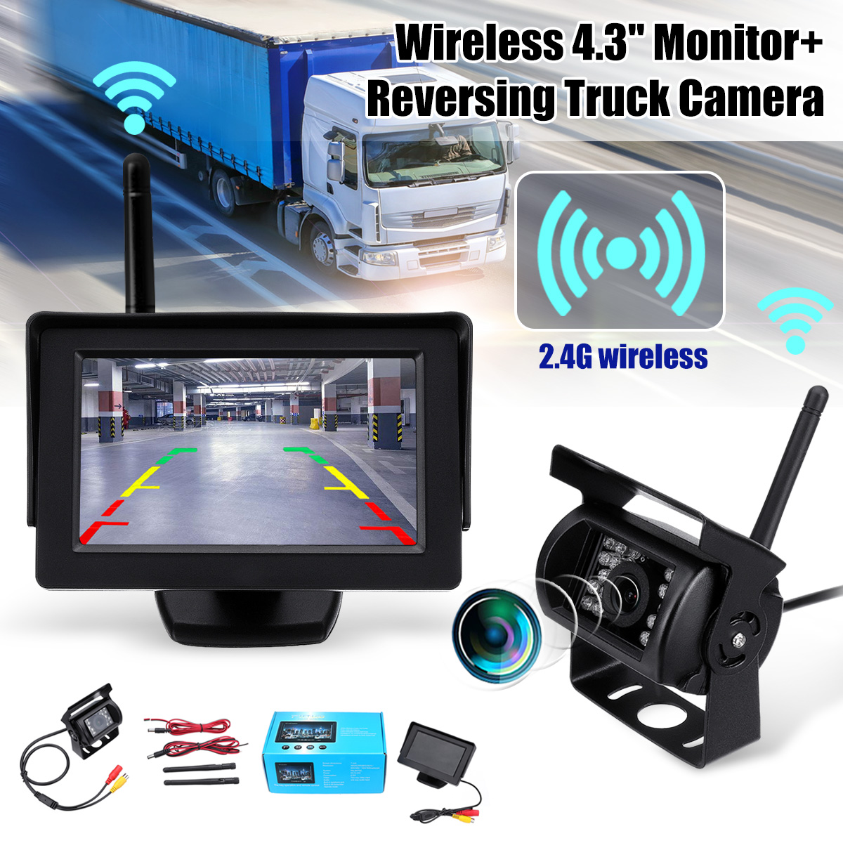 2.4G Wireless Car Rear View Backup Camera System Night Vision Vehicle Camera With 4.3 Inch Monitor For 12-24V Truck Trailer