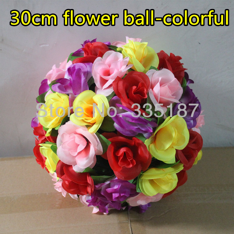 30cm silk flower ball Artificial decoration Wedding colorful rose Large-scaleChristmas store shop - Greenstyles