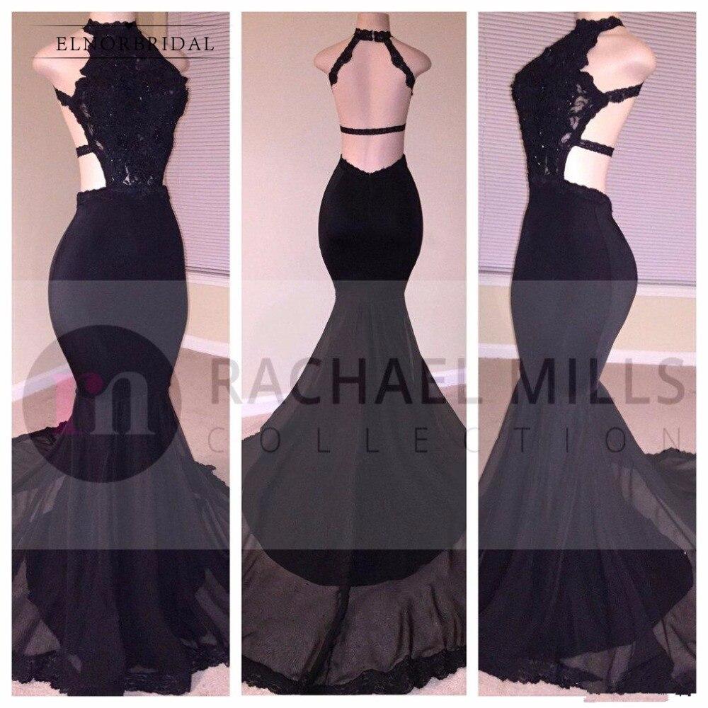 Женское вечернее платье с открытой спинкой, черное платье Русалочка для выпускного бала