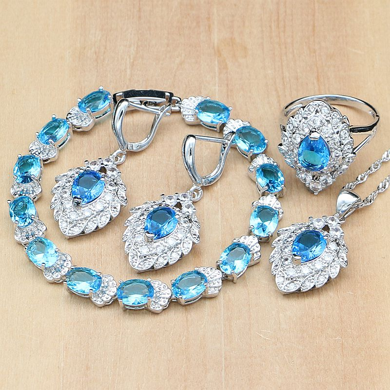 925 Silver Bridal Jewelry Sets Sky Blue Cubic Zirconia Decorations For Women Wedding Earring/Pendant/Necklace/Ring/Bracelet