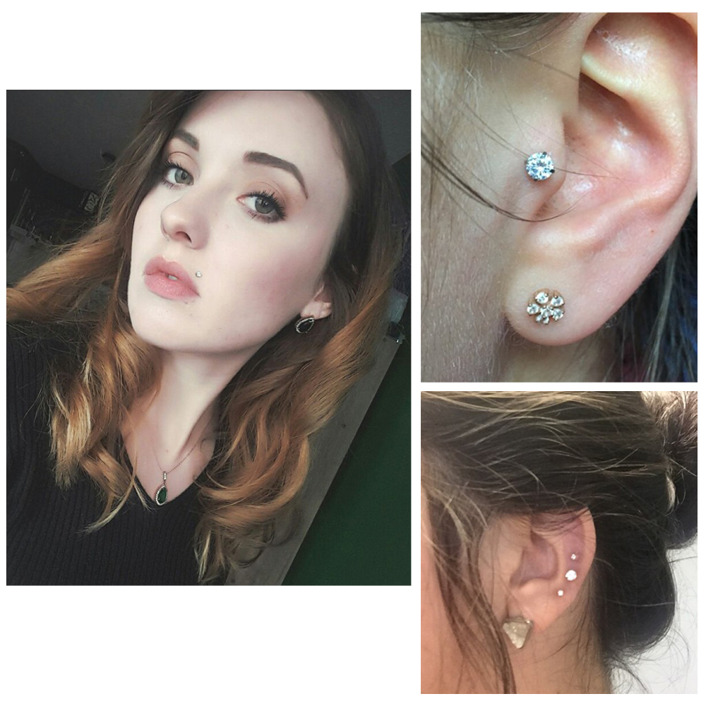 1Piece Fashion Round Zircon CZ 316l Steel&PTFE Labret Lip Bar Ring Piercing Ear Cartilage Tragus Sexy Girl Jewelry 16g