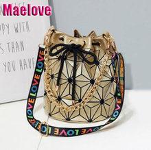 cad9f7d68672 Maelove горячие женские Геометрия ведро мода Tote плечо Лазерная  складывающиеся сумочки письмо широкий ремень сумка 5 цветов Бес..