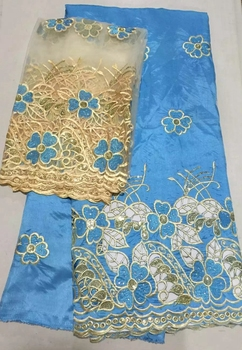 High quality Embroidery 5yards African george fabric wrappers + 2yards French tulle lace  raw silk material with stones