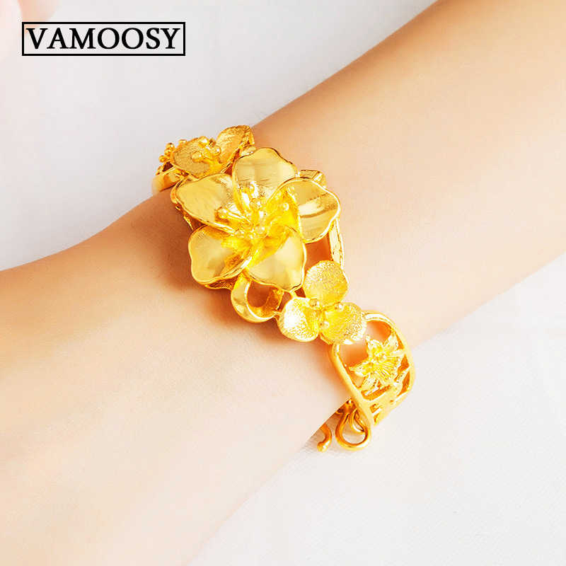 Fine 24K Gold Peacock Flower Charm Bracelet for Women Girl Bracelet & Bangle Adjustable Pulseras Mujer Wedding Bridal Jewelry