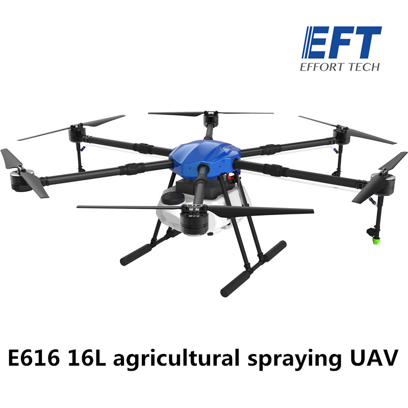 EFT E616 16L / 16KG agricultural spraying drone 1630mm Wheelbase waterproof Folding frame for hobbywing X8