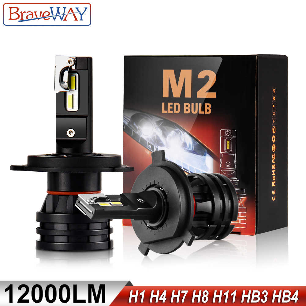 BraveWay LED Car Light Bulbs H4 H7 H8 H9 H11 H1 HB3 HB4 9005 9006 LED Headlight for Car Lamp Turbo Bulbs for Auto 12V 24V CANBUS