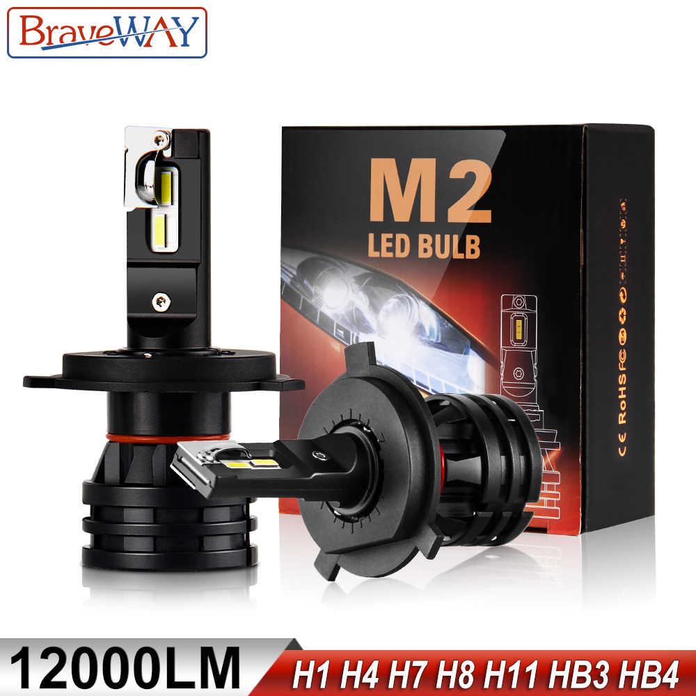 BraveWay LED bombillas para coche H4 H7 H8 H9 H11 H1 HB3 HB4 9005 de 9006 de la linterna LED para lámpara de coche Turbo para bombillas Auto 12V 24V CANBUS