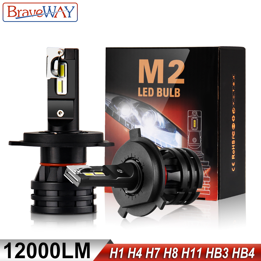 BraveWay LED Car Light Bulbs H4 H7 H8 H9 H11 H1 HB3 HB4 9005 9006 LED Headlight for Car Lamp Turbo Bulbs for Auto 12V 24V CANBUS