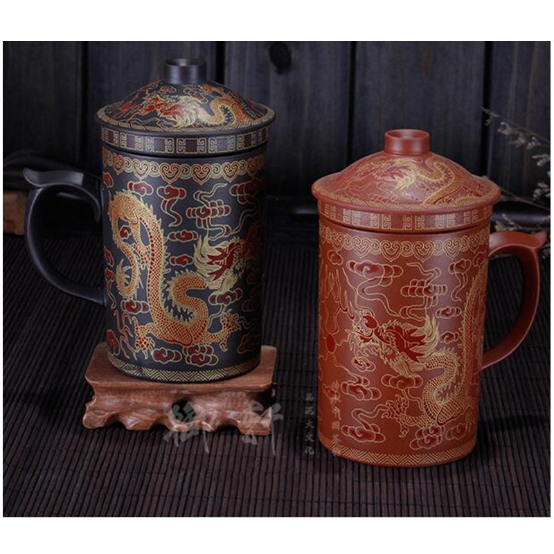 Promotion 400ml Purple Grit Round Teapot Pu er Tea pot Travel Kung Fu Tea Set Office