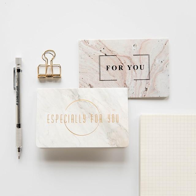 1 Pc Tekstur Marmer Fashion Bronzing Kartu Ucapan Pernikahan Terima
