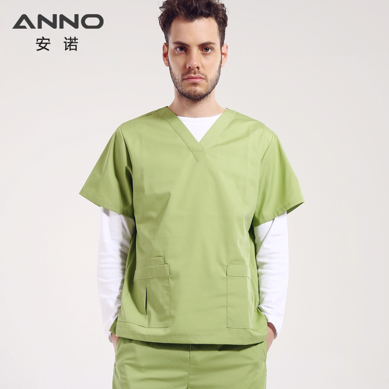 Hot Cheap Summer V Neck Nurse Uniform Medical Male Scrubs Set Doctor Suit Hospital Equipment Surgical Uniform Medical Clothes