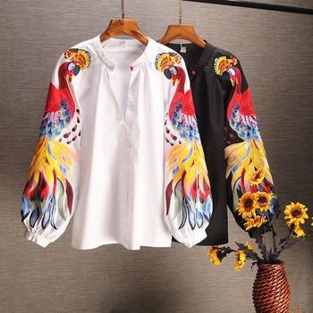 2019 printemps et été coton casual chemises brodées à manches longues chemises femme plein bouton imprimé o-cou lanterne manches