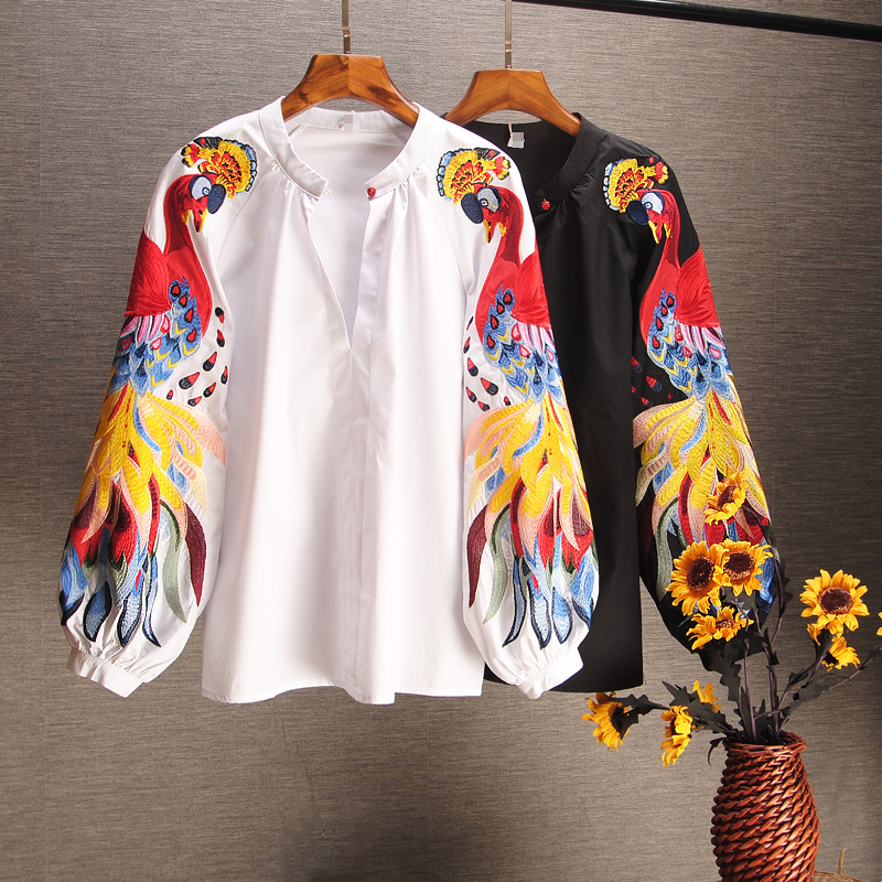 2019 Spring And Summer Cotton Causal Shirts Embroidered Long-sleeved Shirts Woman Full  Button Print O-Neck  Lantern Sleeve