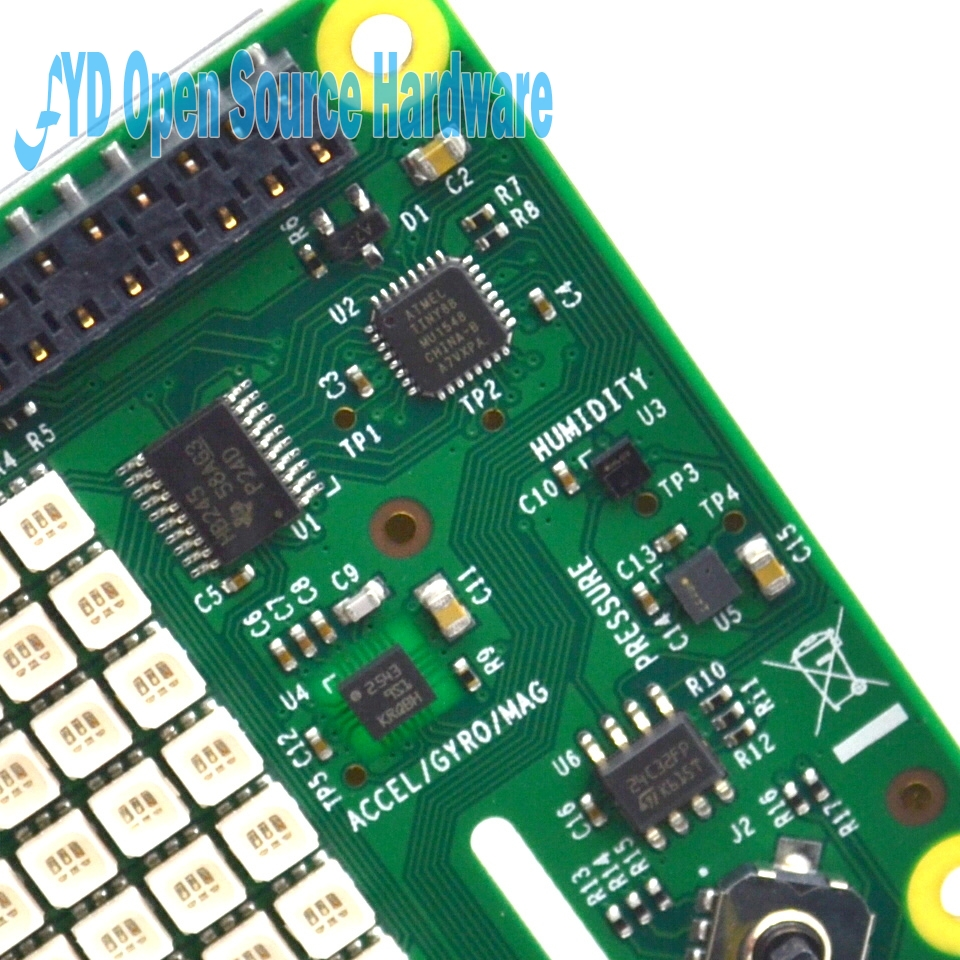 US $45 88 |Raspberry Pi Sense HAT with direction , pressure, humidity and  temperature sensor-in Integrated Circuits from Electronic Components &