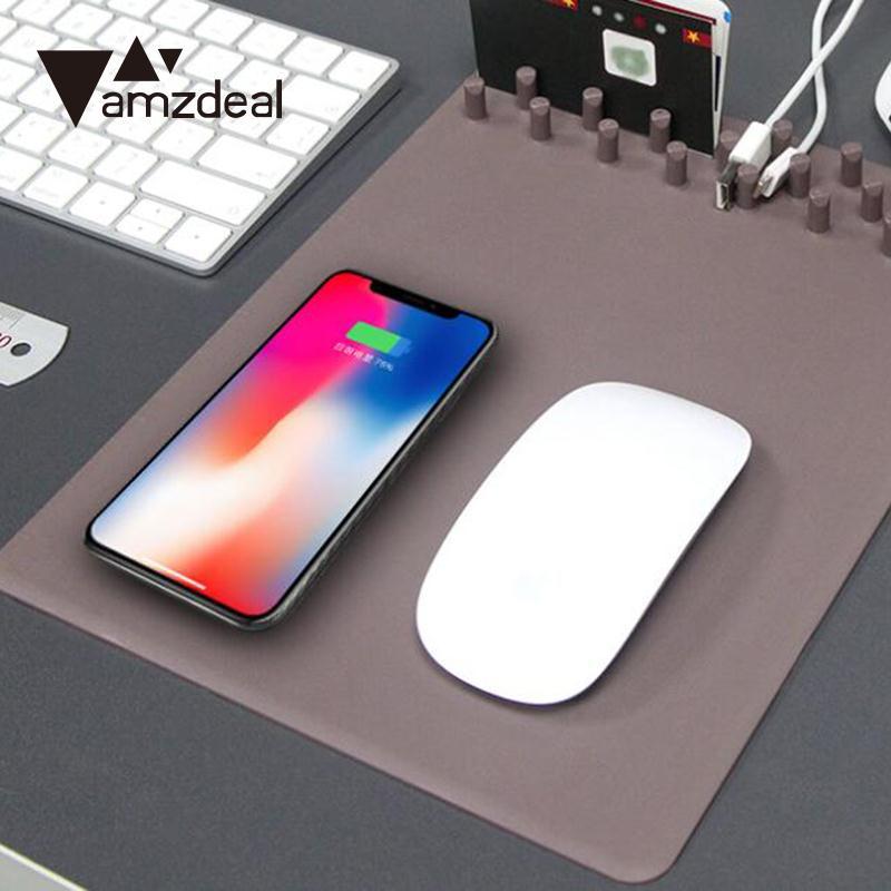 Amzdeal высокое качество Беспроводной Мышь Pad Зарядное устройство Мышь Pad личности Мышь Коврики электронные компоненты + силиконовые