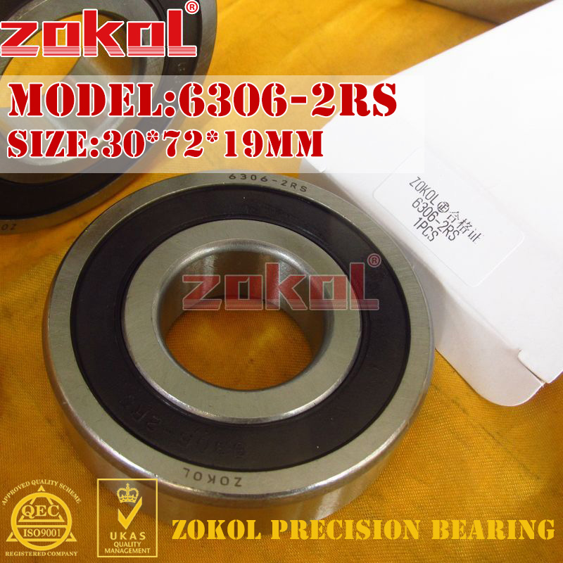 ZOKOL Bearing 6306RS 6306 N 2RS Z2V2 6306-2RSN 50306 2RS Snap Ring Groove Deep Groove Ball Bearing 30*72*19mm