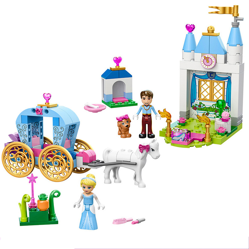 41053 Friends Series Princess Cinderella's Pumpkin Carriage Romantic Castle Building Blocks Toys For Girl Christmas Gift Legoing 472pcs set banbao princess series castle building blocks girl friends favorite scene simulation educational assemble toys