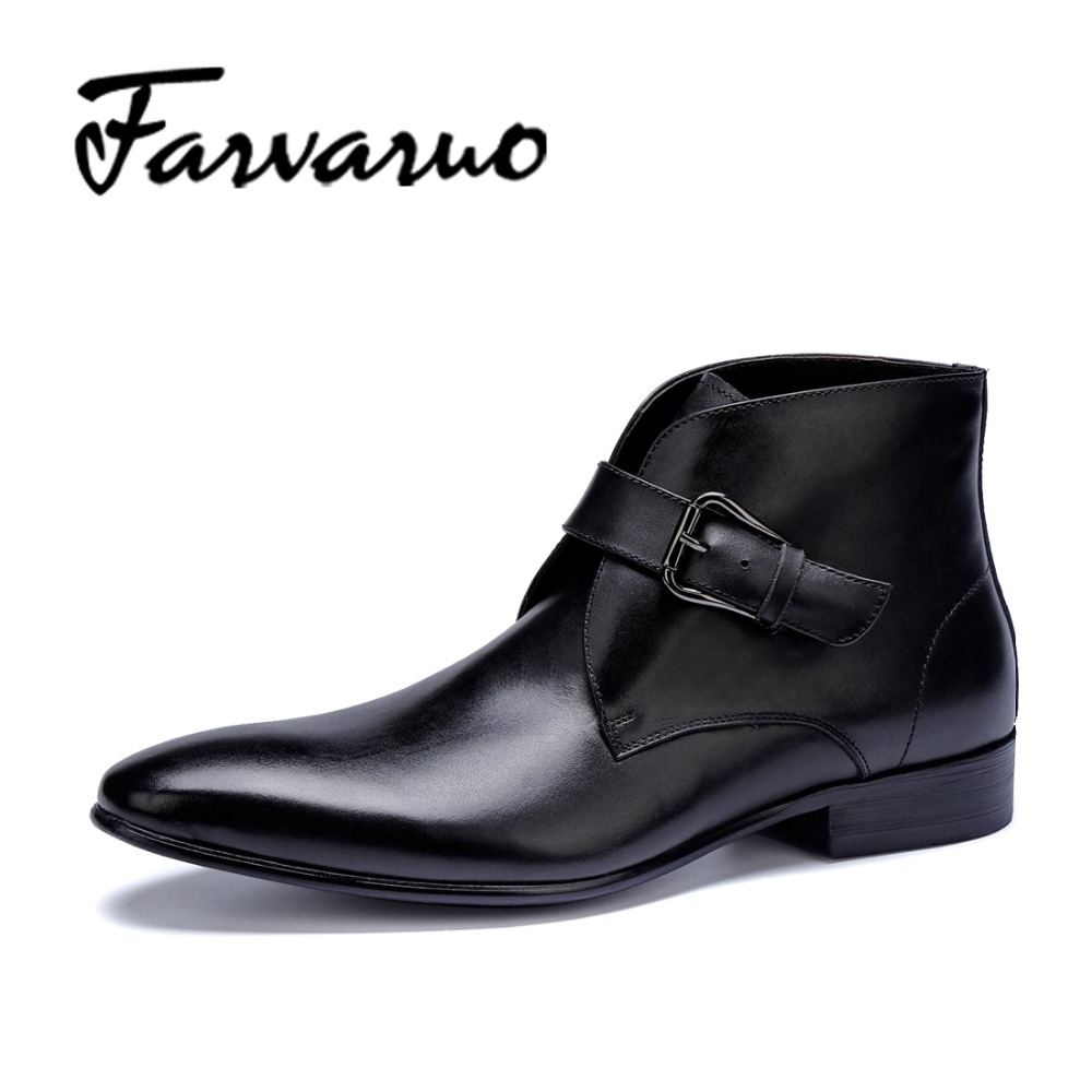 Farvarwo Formal Black Pointed Toe Mens Ankle Boots Buckle Fashion Genuine Leather Winter Boot Shoes High Quality Vintage Martins farvarwo formal retro buckle chelsea boots mens genuine leather flat round toe ankle slip on boot black kanye west winter shoes