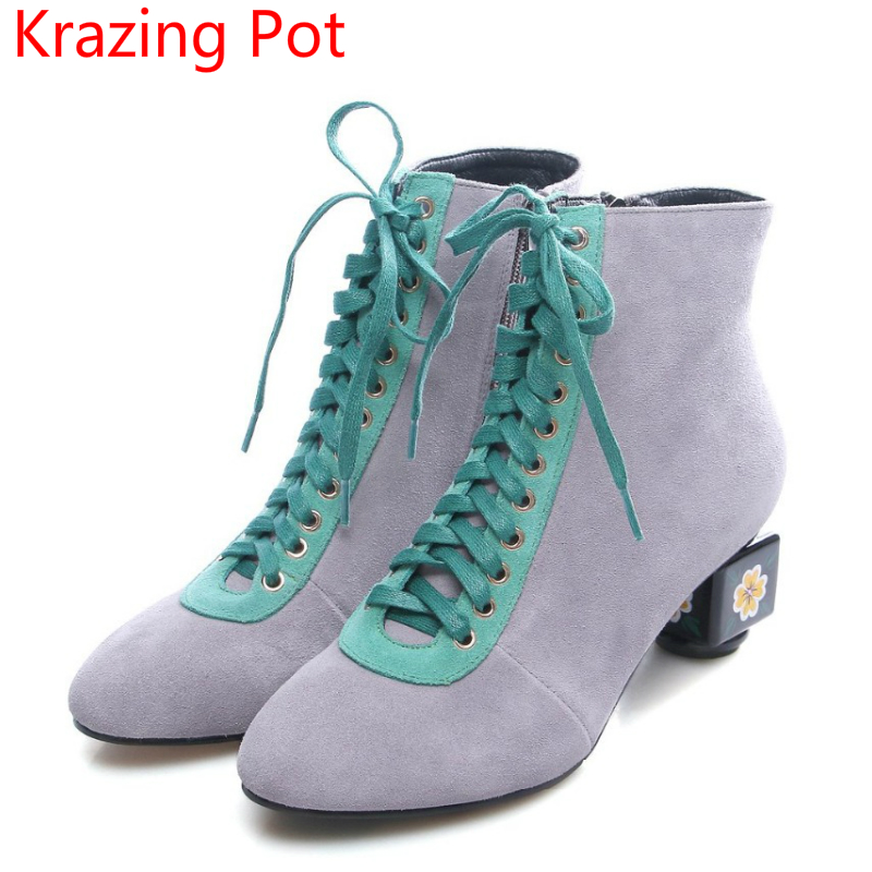 Handmade Fashion Boots Brand Winter Shoes Flower High Heels Women Round Toe Lady Warm T-tied Lace Up Mixed Color Ankle Boots L10 ouqinvshen round toe lace up women boots fashion mixed colors women ankle boots new winter short plush cross tied ladies boots