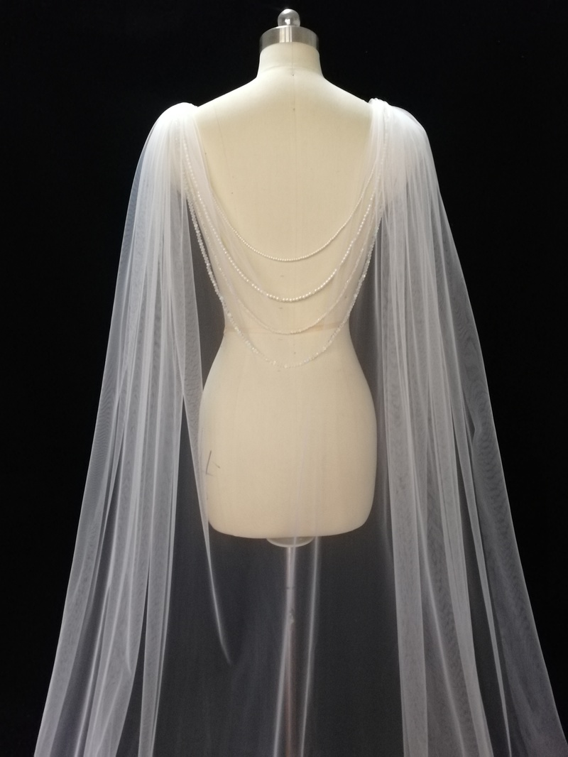 Wedding Cape - Bridal Cape Veil - Wedding Bolero-  Back Necklace, Wedding Cape Veil, Modern Veil, Bridal Back Necklace