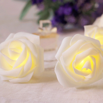 3m 30bulbs Diy Creative Pe Rose Flower Wedding Decoration Artificial White Led String Light