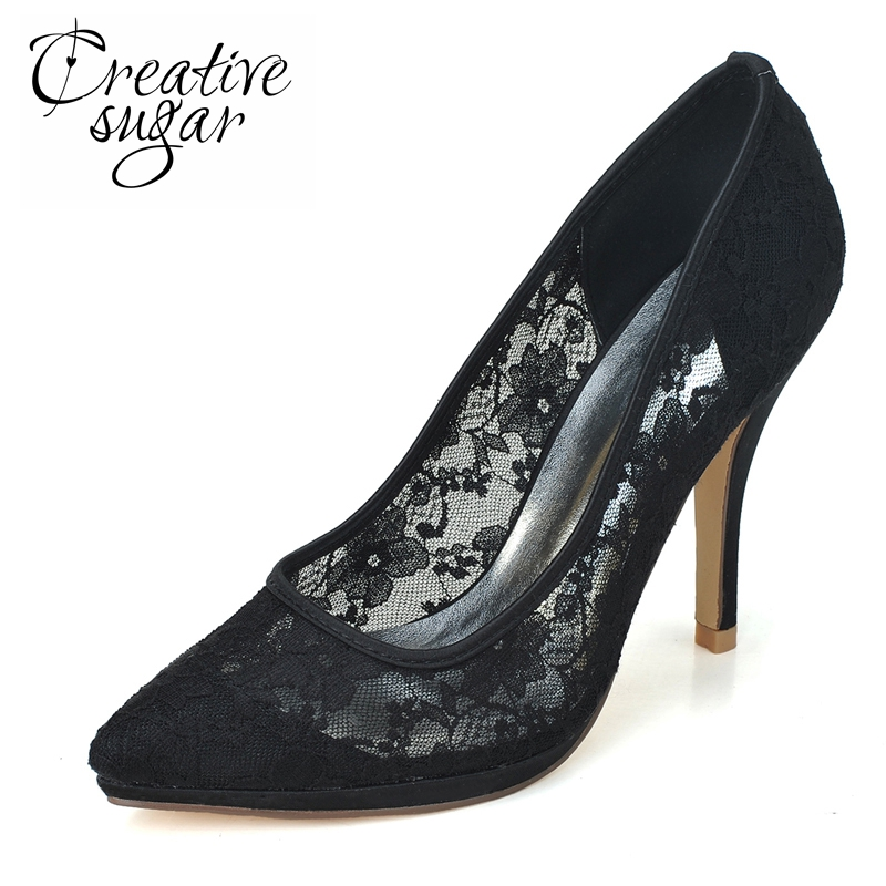 Creativesugar lady elegant perspective see through lace high heels pointed toe shoes pumps wedding party prom black pink white creativesugar elegant pointed toe woman