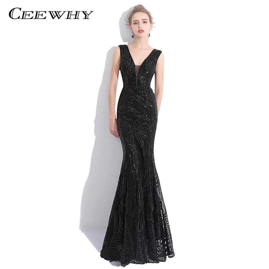 CEEWHY v-cou luxe Sexy robes De bal Robe De soirée sirène pailletée longue Tulle formelle Maxi Robe De soirée grande taille