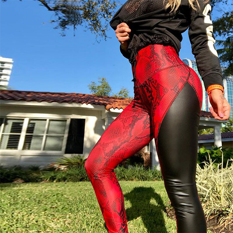NORMOV Women's Fitness   Leggings   Sexy Snake Print Leather Stitching   Leggings   Fashion Workout High Waist Breathable   Leggings