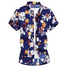 025ced720 Rosa flor camisa hombre blusa hawaiana hombres Floral hombres ropa Casual  camisas de manga corta de vestir para hombre rojo amar.
