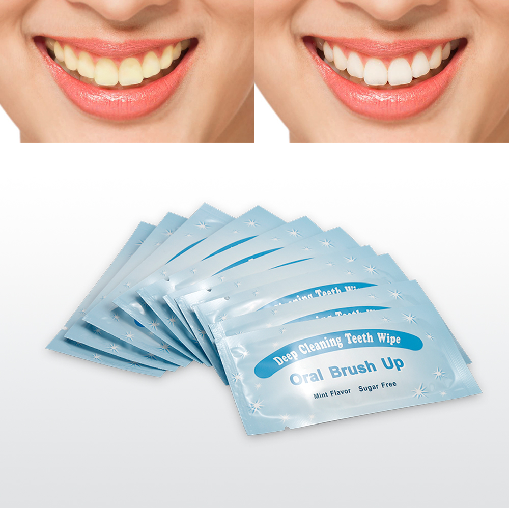 10PCS Oral Hygiene Teeth Whitening Teeth Wipe Oral Brush Up Dental Clean Textured Finger Deep Cleaning Wipes Dental Tooth TSLM2