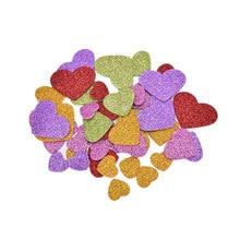 Lote de 45 pegatinas coloridas de confeti con forma de corazón para niños, pegatinas de espuma con purpurina de tamaño variado, decoración para fiesta, arte de colección de recortes