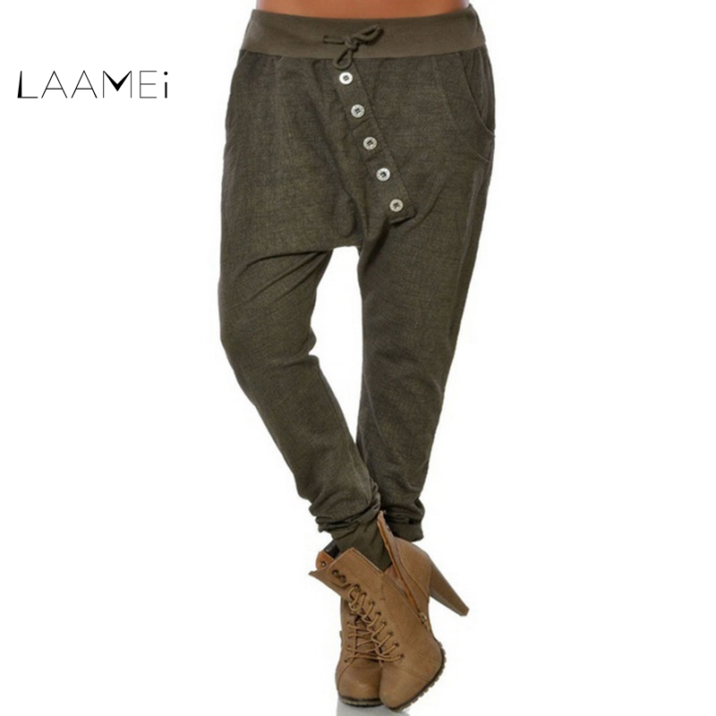 Laamei 2019 Womens Solid Elastic Waist Harem Pants Bloomers Baggy Pants Boyfriends Button Casual Loose Trousers Plus Size 5XL
