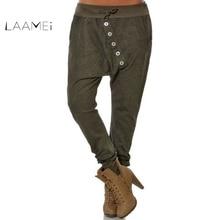 Laamei 2019 mujeres de cintura elástica Harem pantalones Bloomers pantalones  de novios botón 72fd385e84d5