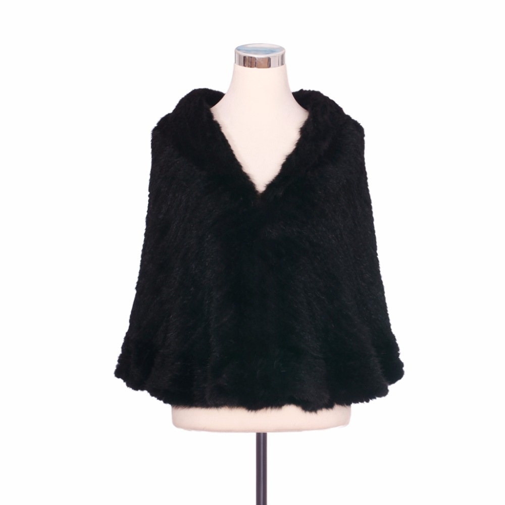 ZY87016 Real Knitted Mink Fur Butterfly Trimming With Mink Fur V Neck Collar Cardigan Shawl Women Pashmina