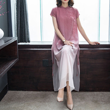 LKlady Silk Dress Medium and Long Section Mulberry Improved Elegant Cheongsam Fashion Spring Summer Retro Style