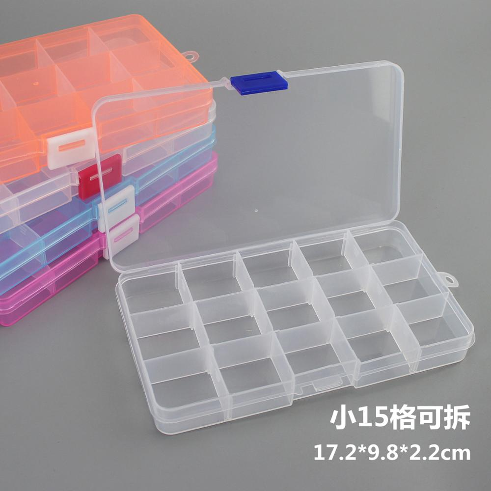 New 15 Slots Cells Colorful Portable Jewelry Tool Storage Box Container Ring Electronic Parts Screw Beads Organizer Plastic Case