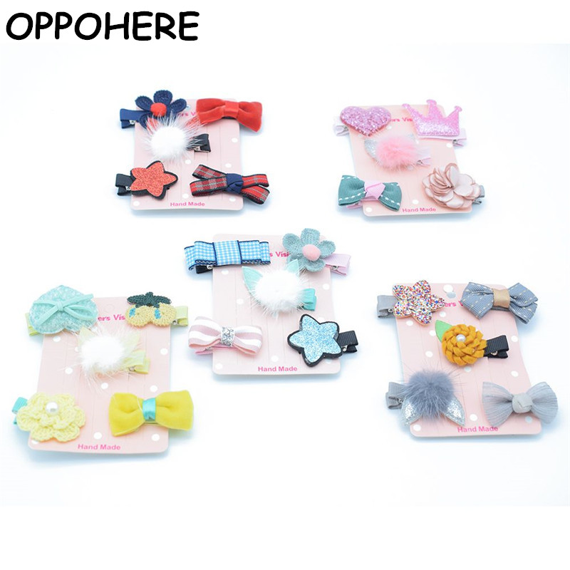Newgirls flowers hair clips cartoon hairpins toddlers kids Animal Bow SAFE Barrettes Hair Accessories Flower gift set 5PCS/ SET
