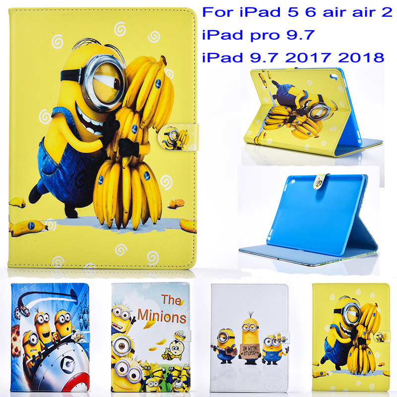 Tablet case cover for apple ipad 5 6 air air2 ipad pro 9.7 ipad 9.7 2017 2018 case Minions Cartoon stand PU Leather Cover GiftTablet case cover for apple ipad 5 6 air air2 ipad pro 9.7 ipad 9.7 2017 2018 case Minions Cartoon stand PU Leather Cover Gift
