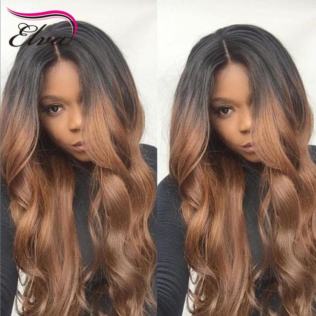 # 1B/#30 Ombre Peluca de Encaje Ombre Brasileño Virginal Llena Del Cordón Del Pelo Humano pelucas Para Las Mujeres Negras Glueless Dos Tonos Ombre Peluca Del Frente Del Cordón