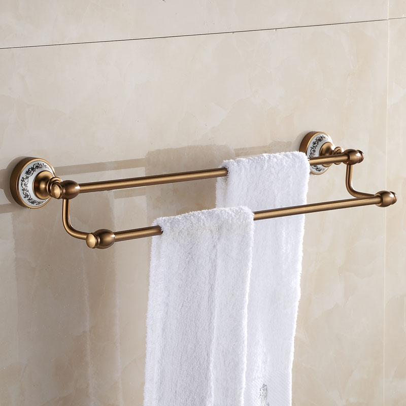 European Space Aluminum Antique Towel Rack Brushed Porcelain Towel Bars 2 Layers Wall Mounted Bathroom Accessories AH the ivory white european super suction wall mounted gate unique smoke door