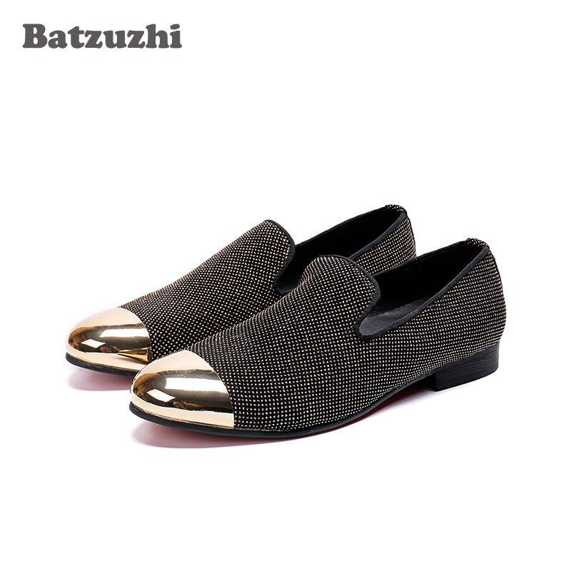 Batzuzhi Luxury Shoes Men Casual Leather Loafers Black Glitter Crystal Zapatos Hombre Gold Metal Cap Party and Wedding Flats цена