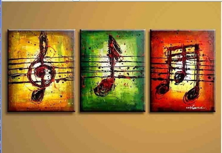 3 PIECES MODERN ABSTRACT HUGE WALL ART OIL PAINTING
