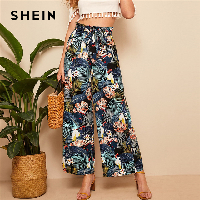 422dd031174e SHEIN Belted Frilled Waist Tropical Print Loose Long Palazzo Pants 2019  Spring Autumn Women Mid Waist