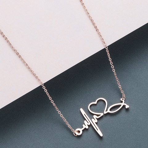 Todorova Stainless Steel Stethoscope Heartbeat Necklace Women Love Heart Necklaces & Pendants Medical Nurse Doctor Lover Gifts Lahore