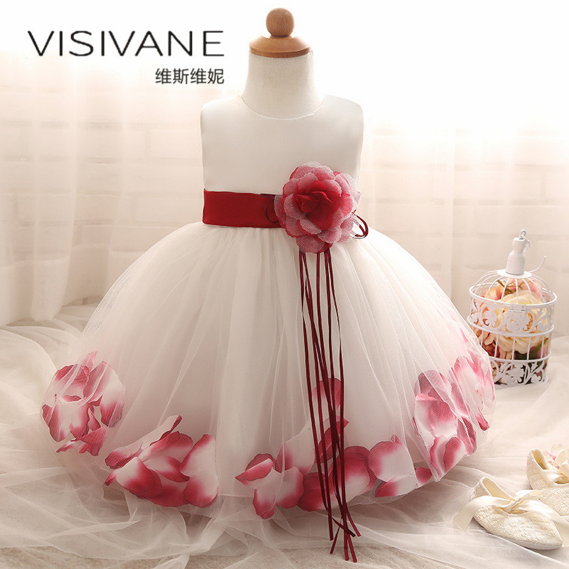 2018 European Style Kids Dresses For Girls Vestido De Festa Girls Dress Sleeveless New Baby Girl Summer Clothes Princess Dress baby girls dress rose floral a line princess dress girls european style baby girl clothes kids clothes 2 10y flower girl dresses