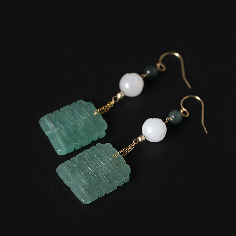 все цены на Emerald white jade 14K gold drop earrings designer original works double happiness vintage design earrings for women jewelry