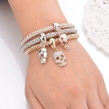 Terreau Kathy New Fashion Gold Color Crystal Skull Bracelet & Bangle 3 PCS/Set Luxury  Charm Bracelet Women Jewelry Gift BKB154