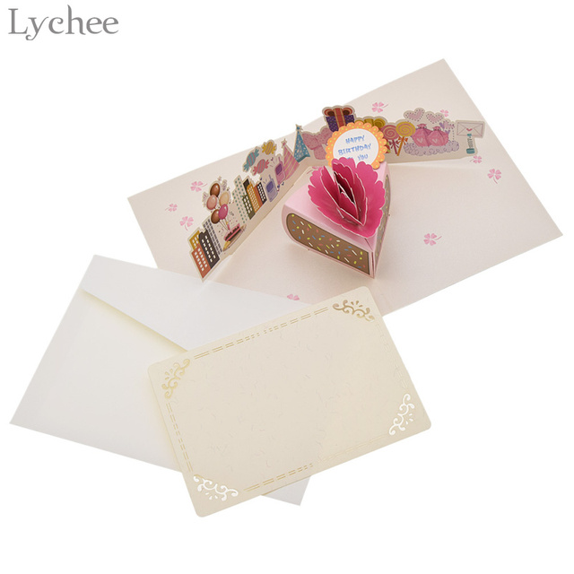 Lychee 3D Handmade Birthday Cake Greeting Card With Envelope
