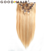 GOOD HAIR  7Pieces/Pack Clip Ins 14″ 18″Mix Blonde Brazilian Remy Straight Hair 100% Clip in Human Hair Extensions