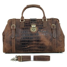 Retro Crazy Horse Leather Hall Hall Bag Men's Large Tote Bag Men's Travel Bag 20.5 Inches 7281B